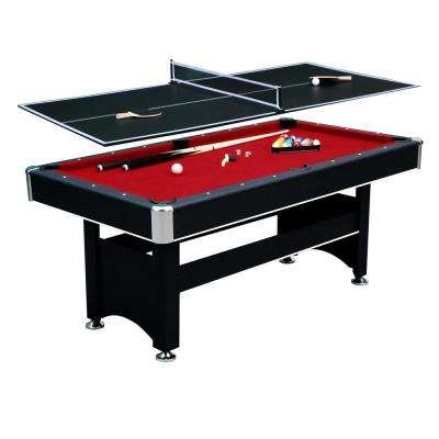 6 ft. Spartan Pool Table with Table Tennis Conversion Top in Black Finish