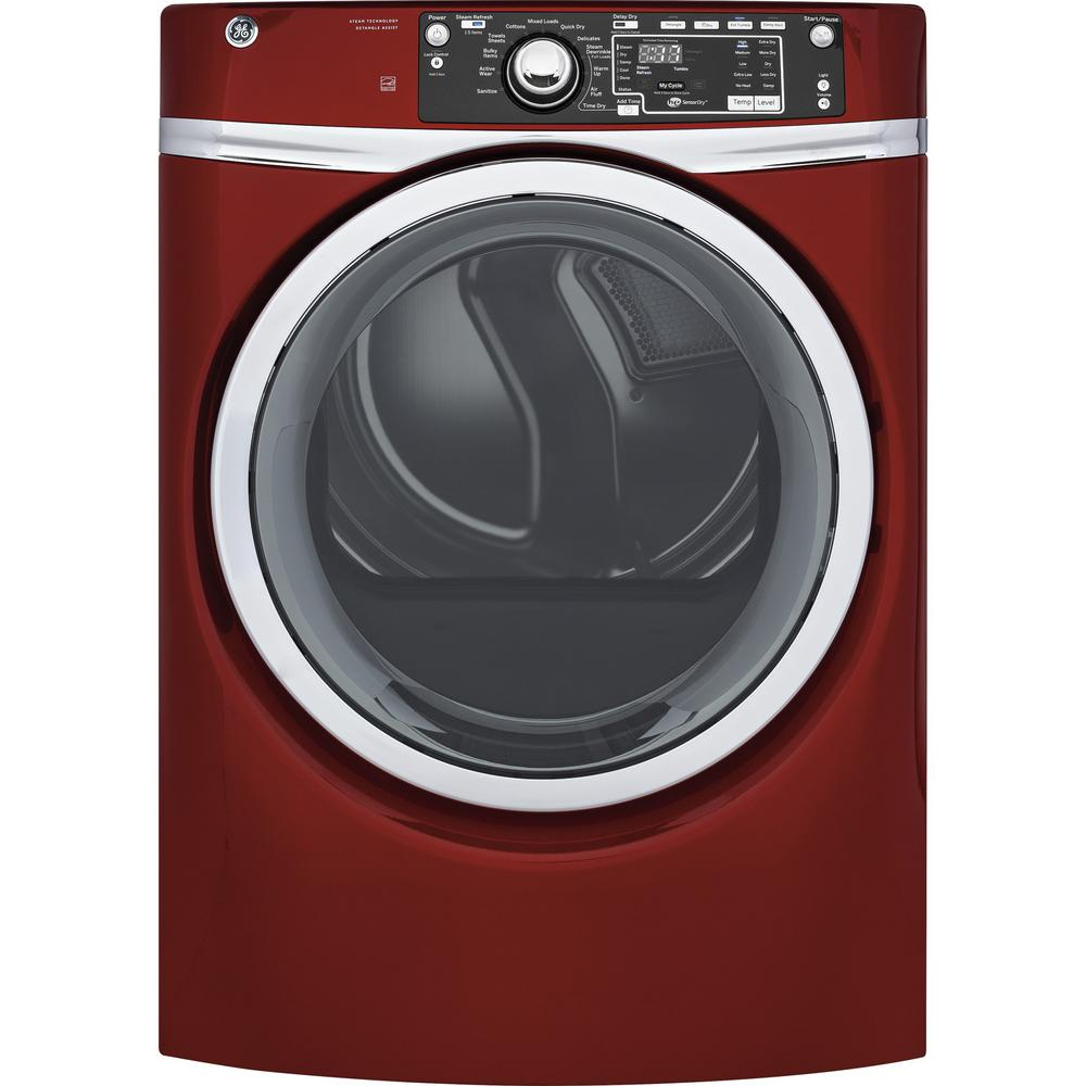 120 Volt Ruby Red Stackable Gas Vented Dryer With Steam