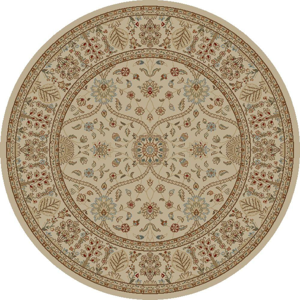 Concord Global Trading Jewel Voysey Ivory-Tonel 5 ft. 3 in. Round Area Rug