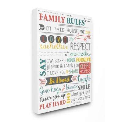 "24 in. x 30 in. ""Family Rules Arrows Inspirational Typography"" by Shawanda Craig Printed Canvas Wall Art"
