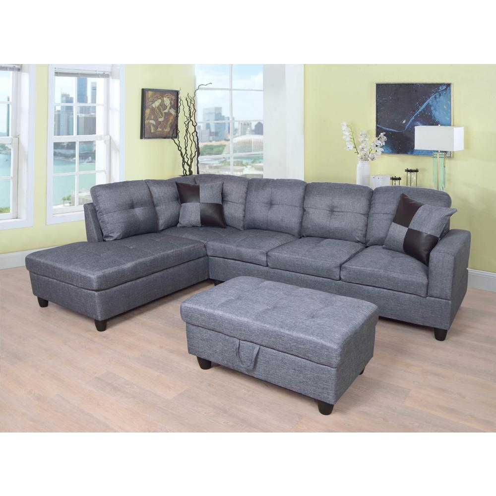 Gray Left Chaise Sectional With Storage Ottoman Sh128a