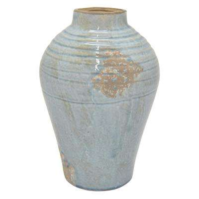 13.5 in. Blue Ceramic Vase