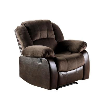 Mischa Brown Champion and Leatherette Recliner Chair