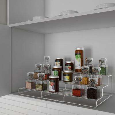 3-Shelf Chrome Adjustable Spice Rack Organizer