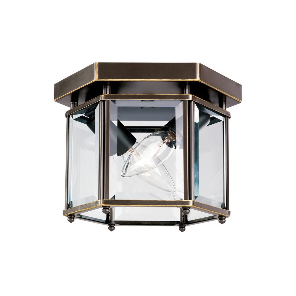 Bretton 2-Light Heirloom Bronze Flush Mount with Dimmable Candelabra LED Bulb