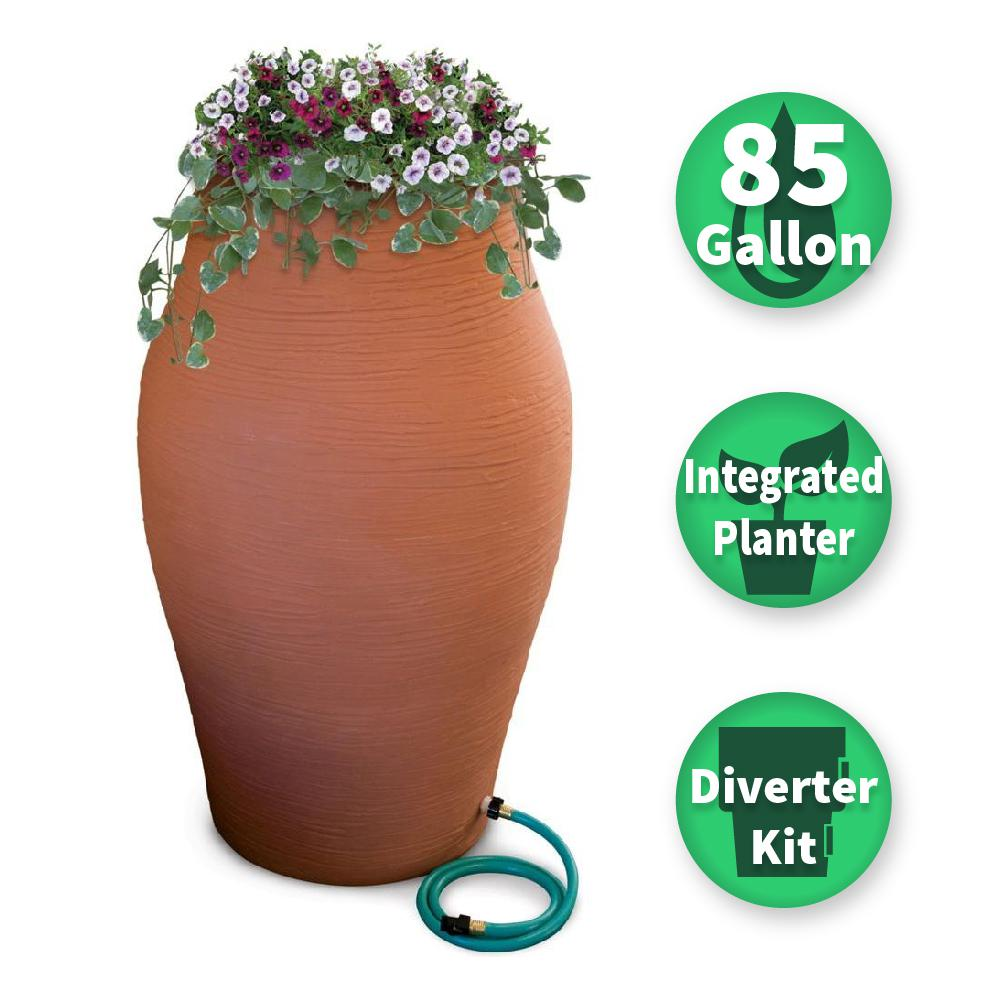 85 Gal. Terra Cotta WaterUrn Decorative Urn Rain Barrel Kit with