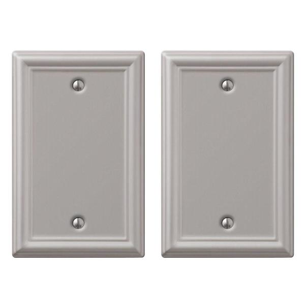 Ascher 1 Gang Blank Steel Wall Plate - Brushed Nickel (2-Pack)