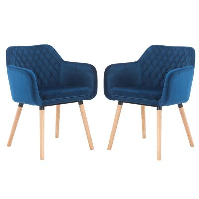 Blue Velvet Accent Armchair with Solid Wood Legs (Set of 2)