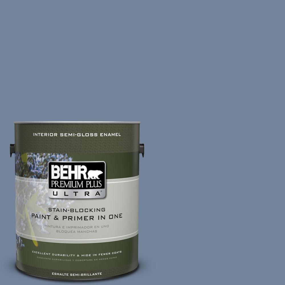 1 gal. #580F-5 Mysteria Semi-Gloss Enamel Interior Paint and Primer in