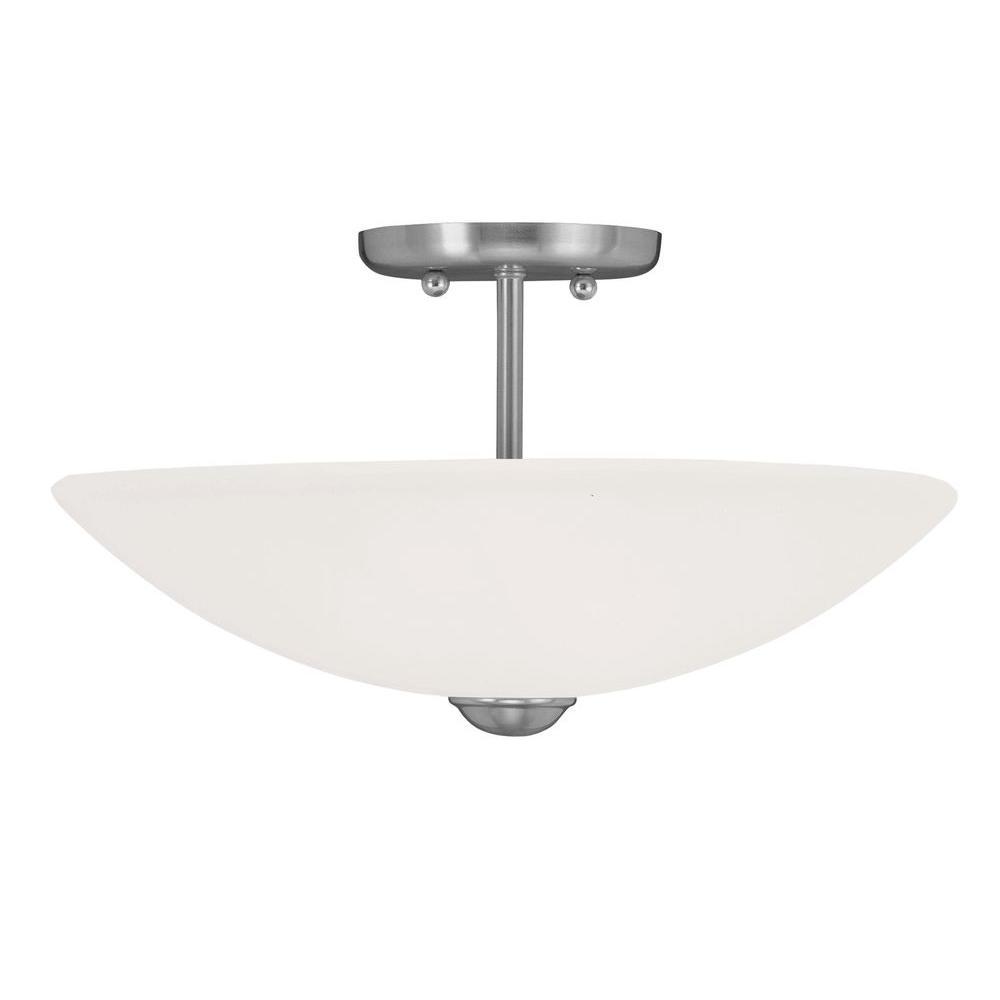 Livex Lighting Providence 2-Light Ceiling Brushed Nickel Incandescent Semi-Flush Mount
