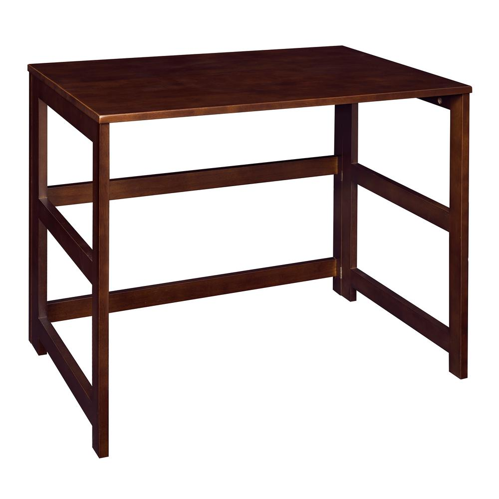 Flip flop mocha walnut folding desk with easy assembly