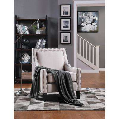 Elegant Beige Accent Chair with Nailhead