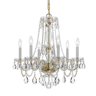 Traditional Crystal 6-Light Polished Brass Crystal Chandelier