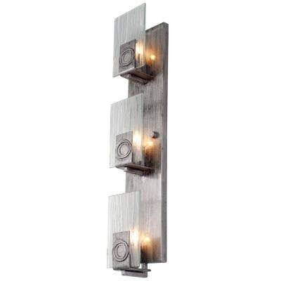 Polar 3-Light Blackened Silver Vertical Sconce with Ice Crystal Glass