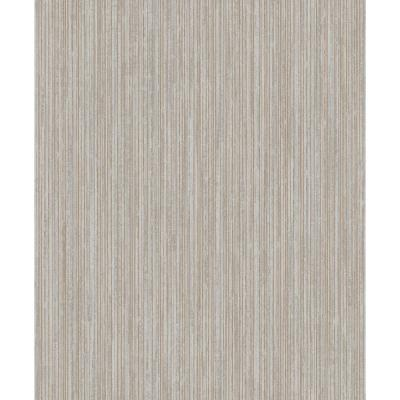 Metallic TextuRed Pinstripe Wallpaper Charcoal & Rose Gold Paper Strippable Roll (Covers 57 sq. ft.)
