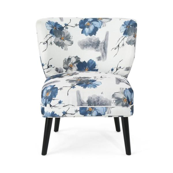 Noble House Laurier Modern Blue and Black Floral Fabric Accent Chair