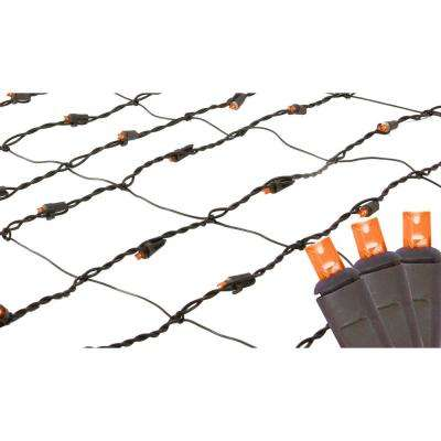 2 ft. x 8 ft. Orange LED Net Style Tree Trunk Wrap Christmas Lights with Brown Wire