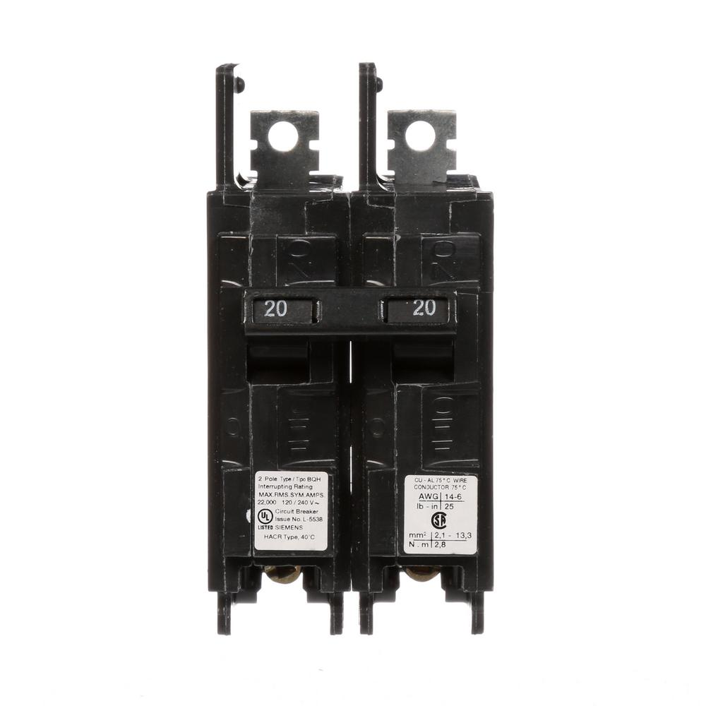 20 Amp 2-Pole Type BQH 22 kA Lug-In/Lug-Out Circuit Breaker