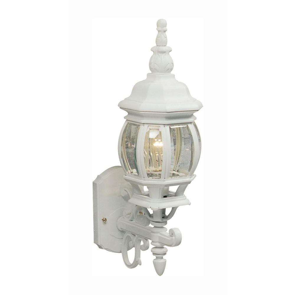 Sergej 1-Light White Outdoor Wall Lantern Sconce