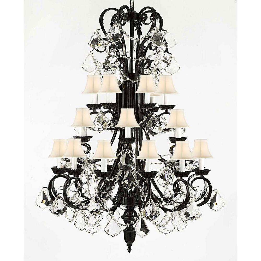 Harrison Lane Versailes 24-Light Black Chandelier with White Shades