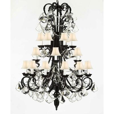 Versailes 24-Light Black Chandelier with White Shades