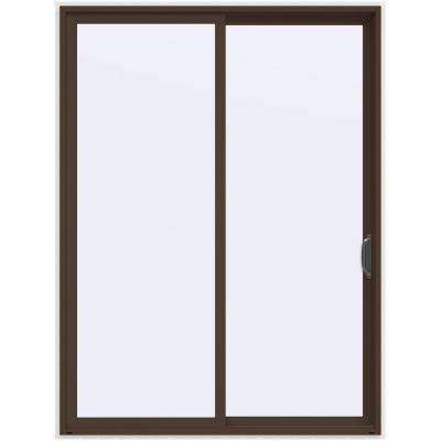 72 in. x 96 in. V-4500 Contemporary Brown Painted Vinyl Right-Hand Full Lite Sliding Patio Door w/White Interior