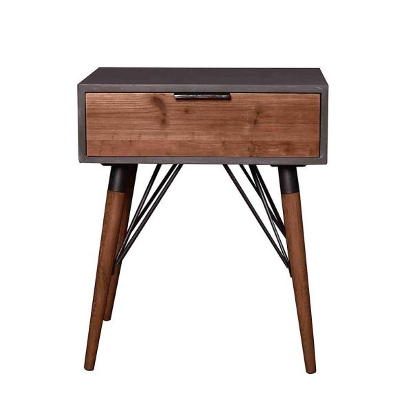 Mariana 23.6 in. Gray Wood End Table
