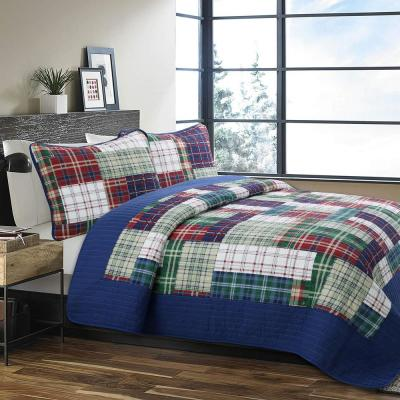 Boxers Briefs Plaid Tartan 3-Piece Navy Blue Red Green Cotton Queen Quilt Bedding Set