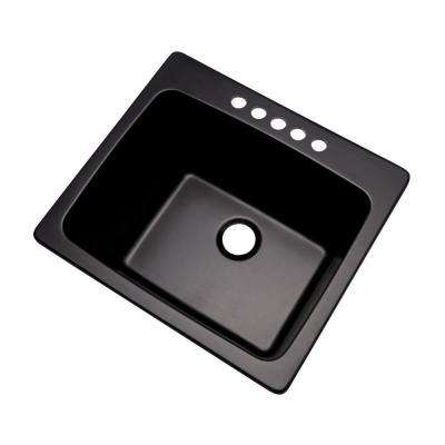 Wakefield Drop-In Natural Stone Composite 25 in. 5-Hole Single Bowl Utility Sink in Black