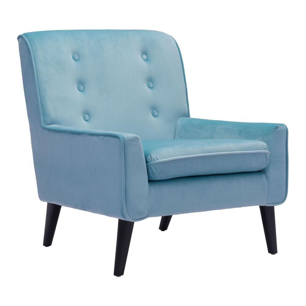 Coney Aqua Velvet Arm Chair