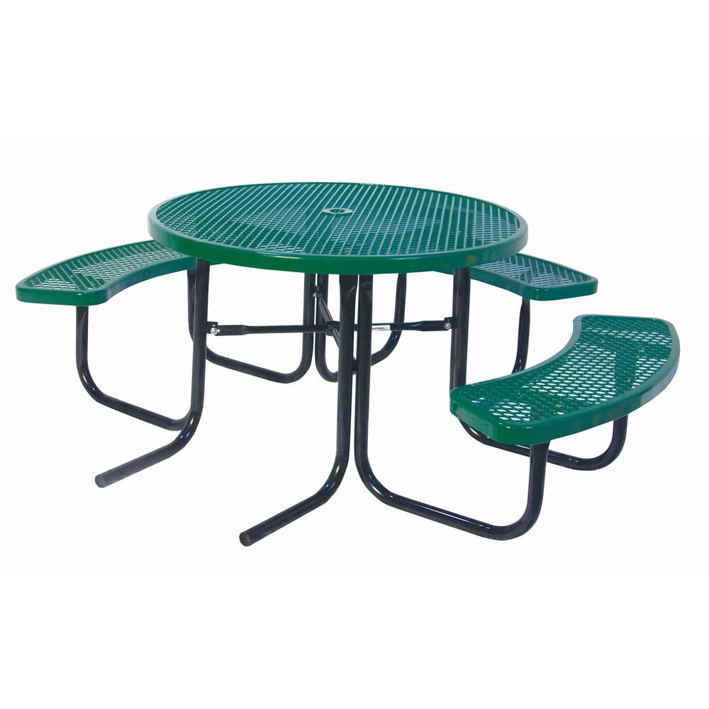 Portable Green Diamond Commercial Park Round ADA Picnic Table - Ada picnic table requirements