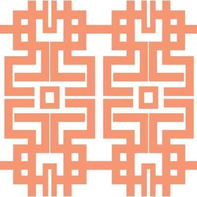 The Blush Label for Mitchell Black Collection Azteca in Coral Removable and Repositionable Wallpaper