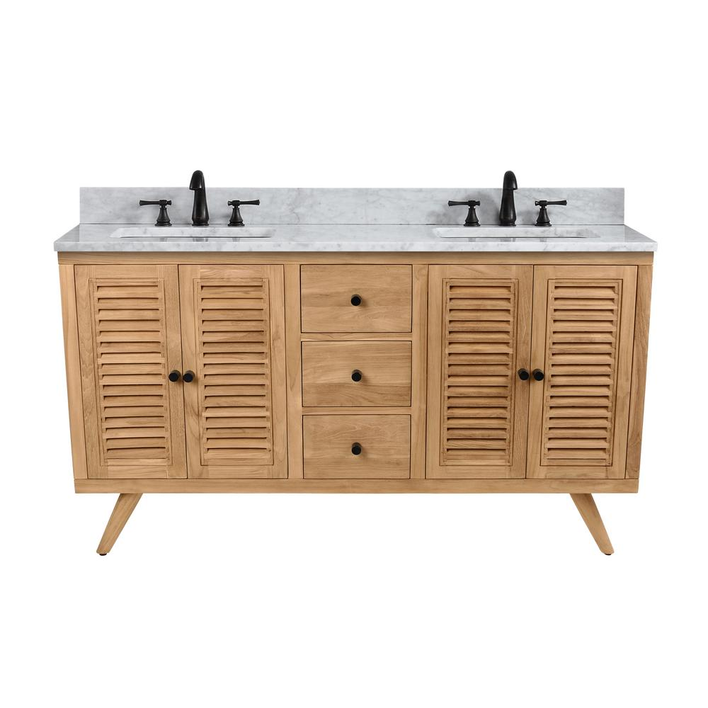 Harper 61 in. Vanity in Natural Teak with Carrera White Basin