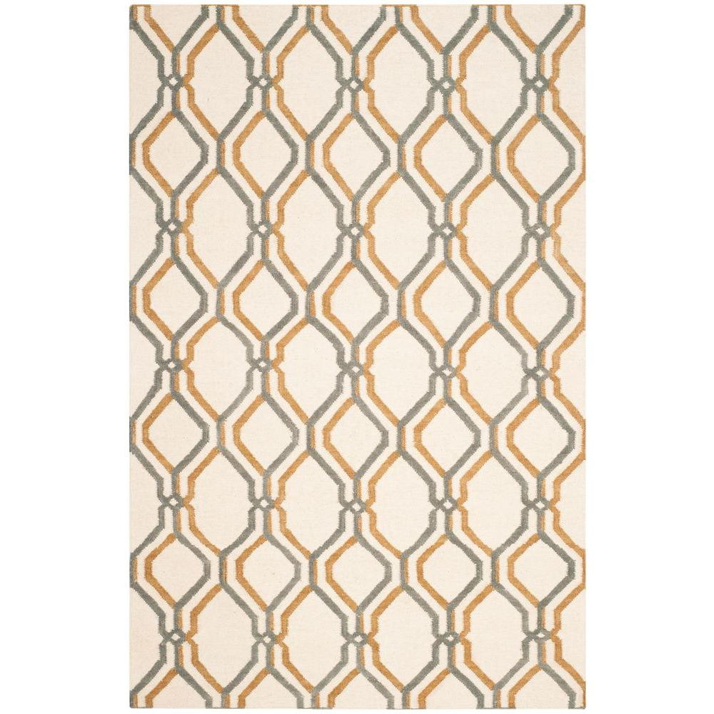 Dhurries Ivory/Blue 4 ft. x 6 ft. Area Rug