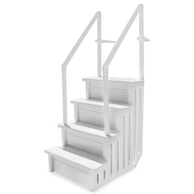 32 in. Plastic Pool Safety Ladder 4-Step Deck Stairs for Above Ground Pools