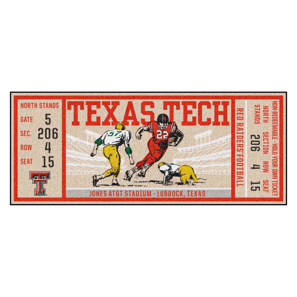 NCAA Texas Tech University 30 in. x 72 in. Indoor Ticket Runner Rug