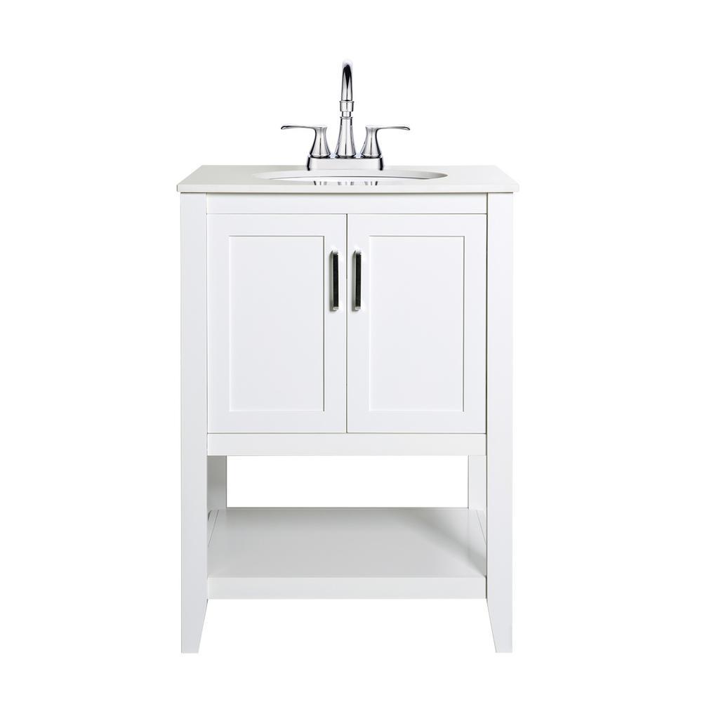 Verna 24 in. W x 19 in. D Vanity in White with Engineered Stone Vanity Top in White with White Basin