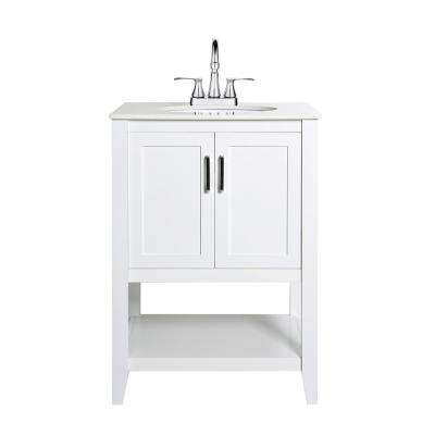 Verna 24 in. W x 19 in. D Vanity in White with Engineered Stone Vanity Top in White with White Basin