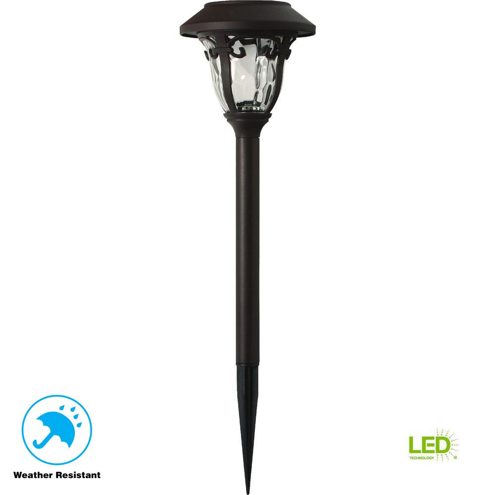 Hampton Bay Solar Bronze Outdoor Integrated Led 3000k 10 Lumens Metal And Gl Landscape Pathway