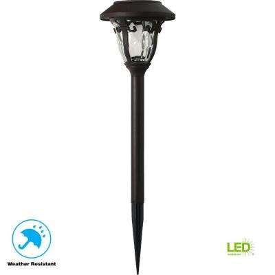 Solar Bronze Outdoor Integrated LED 3000K 10-Lumens Metal and Glass Landscape Pathway Light Set (6-Pack)