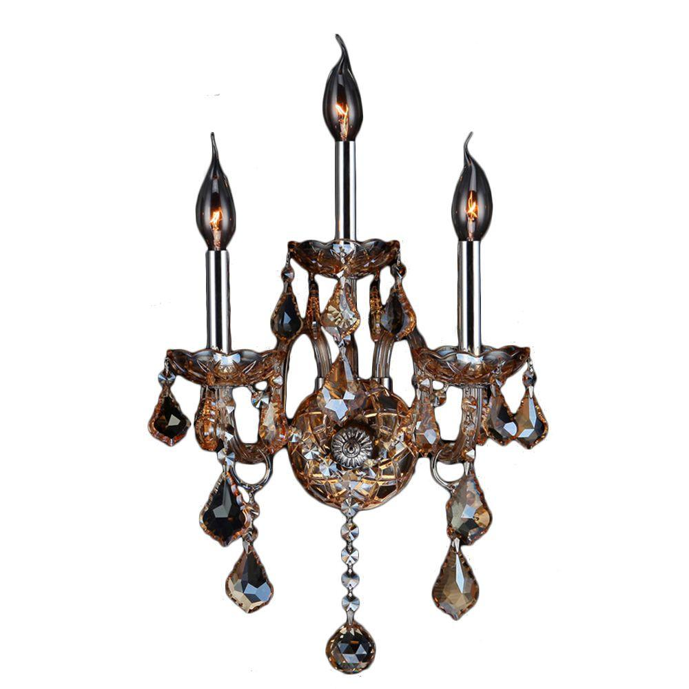 Worldwide lighting empire collection 3 light gold and crystal provence 3 light chrome and amber crystal sconce amipublicfo Gallery