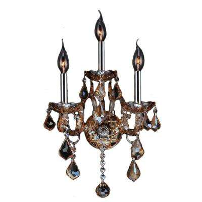 Provence 3-Light Chrome and Amber Crystal Sconce