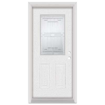 37.375 in. x 83 in. Architectural Left-Hand Zinc Finished Fiberglass Oak Woodgrain Prehung Front Door Brickmould