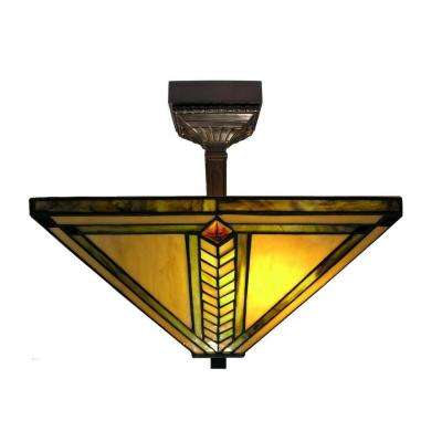 2-Light Antique Bronze Mission Stained Glass Semi Flush Lamp with Mounting Fixture