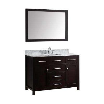 Caroline 49 in. W Bath Vanity in Espresso with Marble Vanity Top in White with Square Basin and Mirror