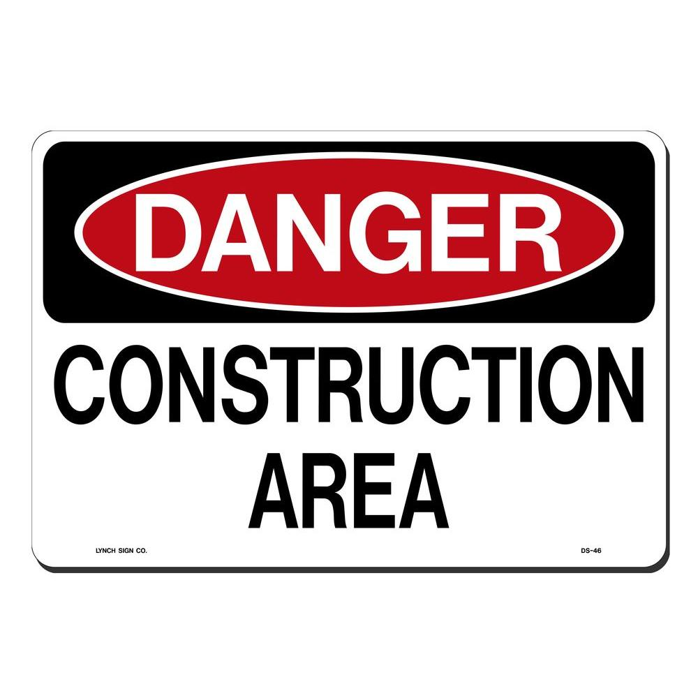14 in. x 10 in. Danger Construction Area Sign Printed on