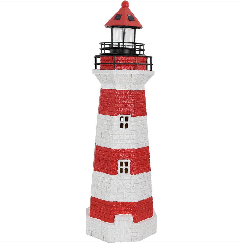 36 in. Red Horizontal Stripe Solar LED Garden Statue Lighthouse
