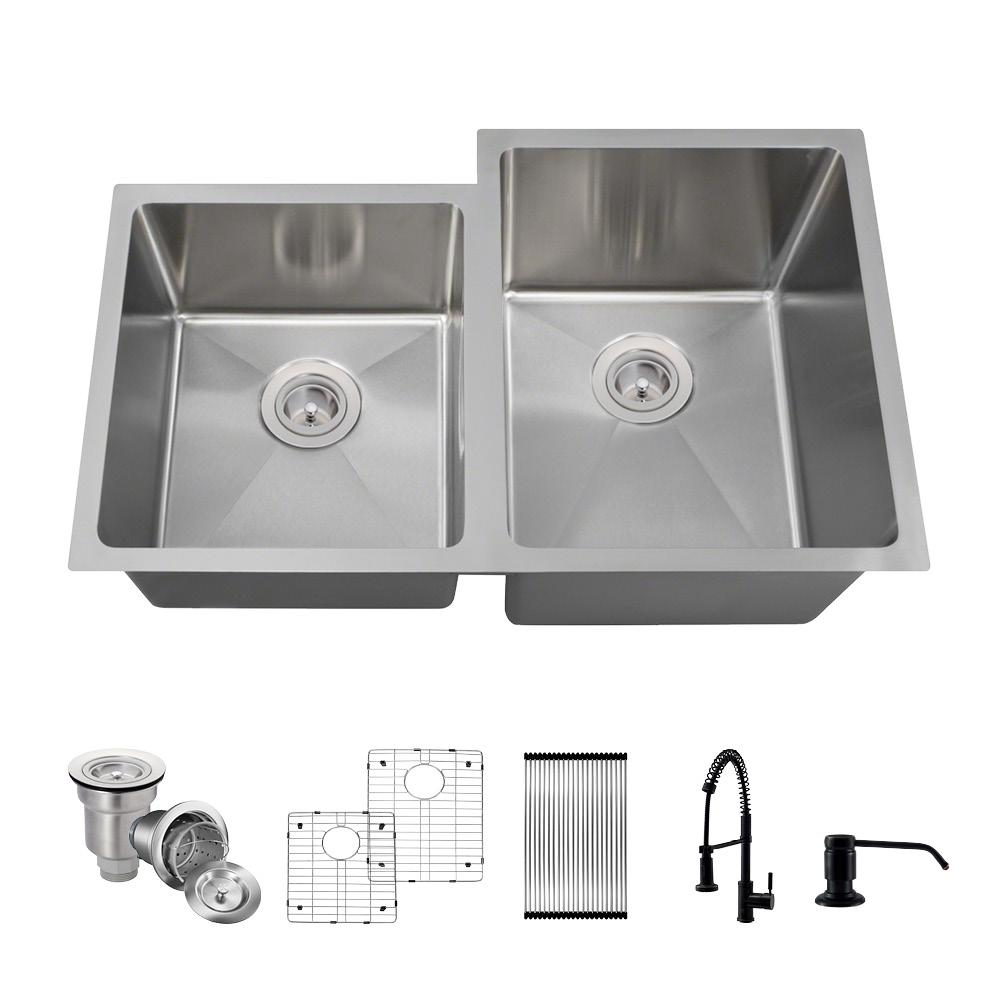 MR Direct All-in-One Undermount Stainless Steel 31.25 in. Double Bowl  Kitchen Sink with Faucet in Antique Bronze Sink Kit