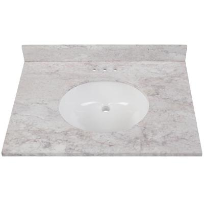 31 in. W x 22 in. D Stone Effects Vanity in Winter Mist with White Sink