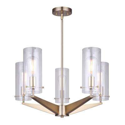 Joni 5-Light Gold Chandelier with Clear Glass Shades